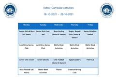 Extra- Curricular Activities Week Beginning 18-10-21