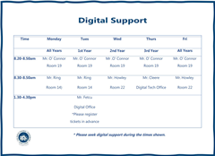 Digital Support Schedule